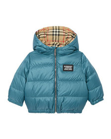 Burberry Boy's Rayan Check Reversible Puffer Coat,