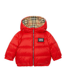 Burberry Girl's Rayon Check Reversible Puffer Coat