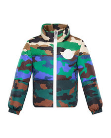 Moncler Marchaud Mixed Camo-Print Puffer Jacket, S