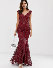 City Goddess all over lace and sequin fishtail max