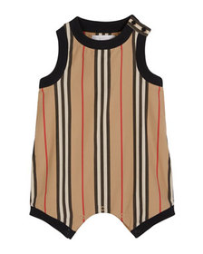 Burberry Nettie Icon Stripe Romper, Size 6M-2