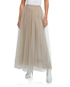 Valentino Poem-Embroidered Tulle Maxi Skirt