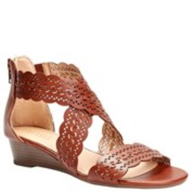 Womens Perforated Crisscross Wedge Sandals