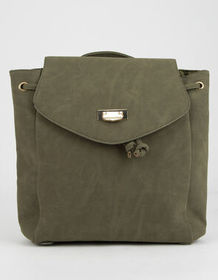 Faux Suede Olive Mini Backpack_