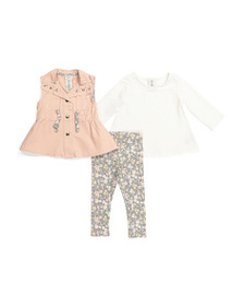 ASPEN Infant Girls 3pc Spring Vest Set