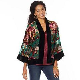 """""""As Is"""" Colleen Lopez 3/4-Sleeve Burnout Velvet To"""