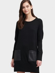 Donna Karan SWEATER DRESS WITH FAUX LEATHER POCKET