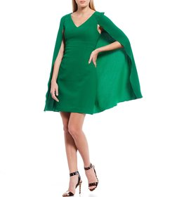 Trina Turk Shinrin Cape Sleeve Crepe Sheath Dress