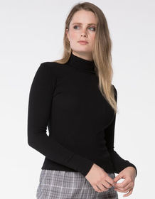 SKY AND SPARROW Rib Black Womens Turtleneck Top_