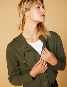 WEST OF MELROSE Cinched It Cropped Womens Jacket_