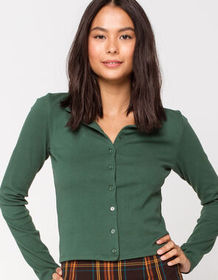 IVY & MAIN Solid Button Front Hunter Green Womens