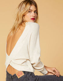 WEST OF MELROSE Options Open Back Oatmeal Womens T