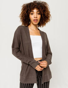 SKY AND SPARROW Thermal Charcoal Womens Cardigan_