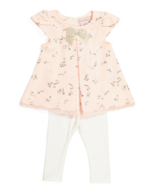 CATHERINE MALANDRINO Infant Girls Foil Tunic & Leg