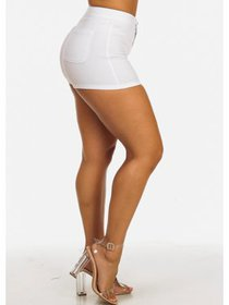 Womens Juniors Solid White High Rise One Button Zi