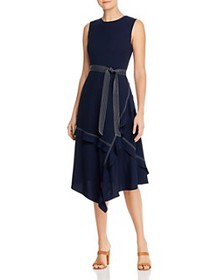 Calvin Klein - Ruffled Contrast-Stitched Midi Dres
