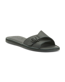SPERRY Leather Slide Sandals With Buckle Detail