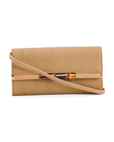SONDRA ROBERTS Linen Clutch With Strap