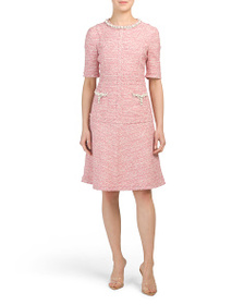 TERI JON Pearl Trim Tweed Dress