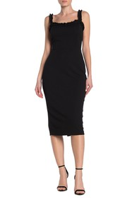 bebe Ruffle Bodycon Midi Dress
