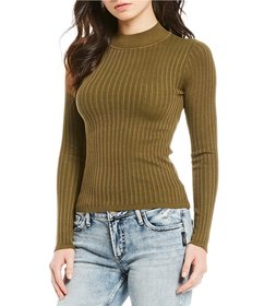 Love by Design Mock-Neck Rib-Knit Long Sleeve Top