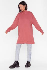 Nasty Gal Plum It's Knit Up to You High Neck Sweat