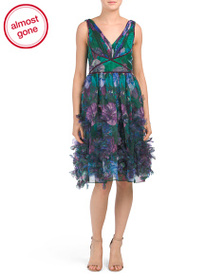MARCHESA NOTTE Floral Organza Dress