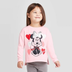 Toddler Girls' Minnie Hearts Vday Fleece Crew Swea