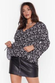 Nasty Gal Black And I Don't Flare Floral Blouse