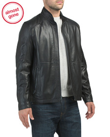 reveal designer Leather Zip Jacket