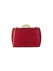 Nina Pacey Embellished Minaudiere SIAM RED