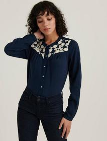 Lucky Brand Embroidered Yoke Button Down