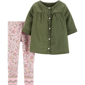 Carters Baby Girls Button Up Floral Print Leggings