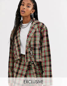 The Ragged Priest oversized cropped blazer in chec