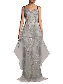 Embroidered Ruffled Tulle Gown LIGHT GREY