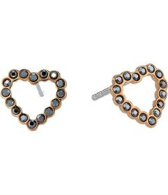 Fossil Straight To The Heart Earrings Hematite Ope