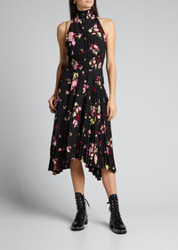 A.L.C. Renzo Pleated Floral Halter Dress