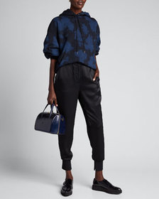 3.1 Phillip Lim Satin Jogger Pants with Ribbed Sid