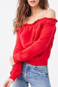 Forever21 Ruffled Off-the-Shoulder Sweatshirt