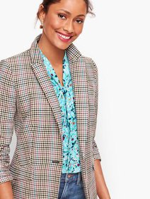 Talbots Long Plaid Blazer