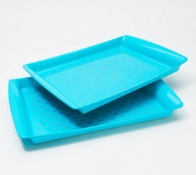 """""""As Is"""" Set of 2 Large Rectangle Nonslip Serving T"""