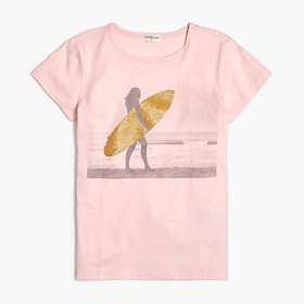 J. Crew Factory Girls' sparkly surfer graphic tee