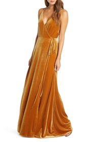 Jenny Yoo Collection Andi Velvet Wrap Evening Gown