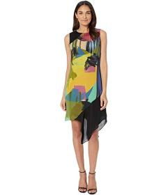 Nicole Miller Abstract Paint Asymmetrical Dress