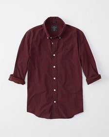 Super Slim Icon Poplin Shirt, RED CHECK WITH MOOSE