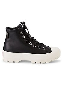 Converse Leather Lace-Up Platform Boots BLACK WHIT