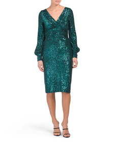 TERI JON Long Sleeve Knit Sequin Dress