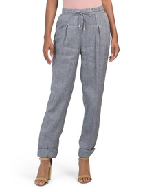 JONES NEW YORK SIGNATURE Linen Blend Cuffed Pants
