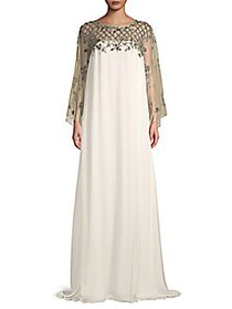 Marchesa Embellished Silk-Blend Gown IVORY