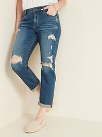 Mid-Rise Distressed Boyfriend Straight Jeans for W